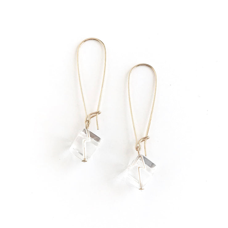 Quartz Crystal Cube Drop Earrings