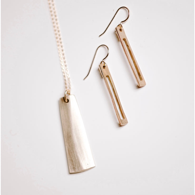 Space Earrings-Matte Brass