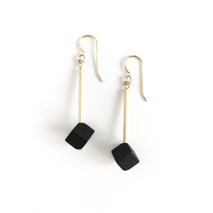 Matte Onyx Cube Earrings