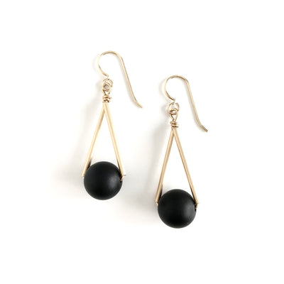 Triangle Onyx and Gold Earrings