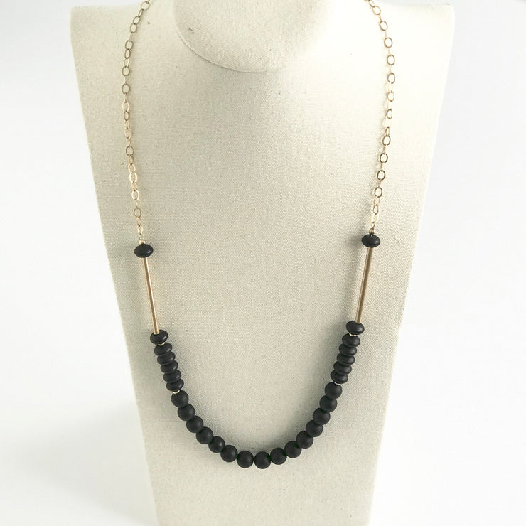 Matte Onyx Round and Rondelle Beaded Medium Length Necklace