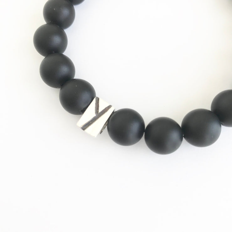 Matte Onyx and Quartz Beaded Bracelet