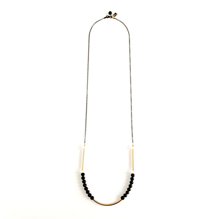Matte Onyx Round Beads and Quartz Crystal Long Necklace