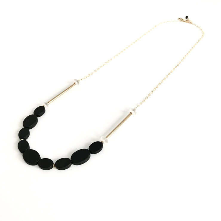 Matte Onyx Oval and Quartz Crystal Long Necklace
