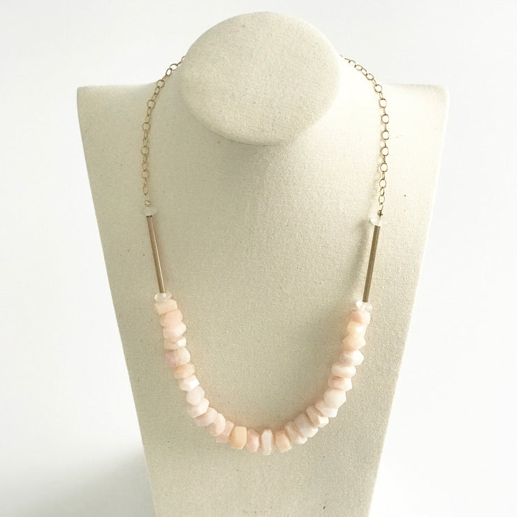 Blush Opal and Matte Quartz Crystal Necklace