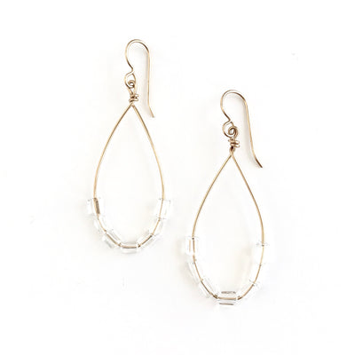 Quartz Crystal Long Teardrop Earrings