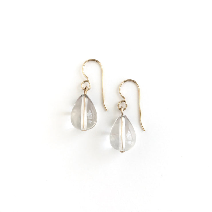 Quartz Single Teardrop Earrings