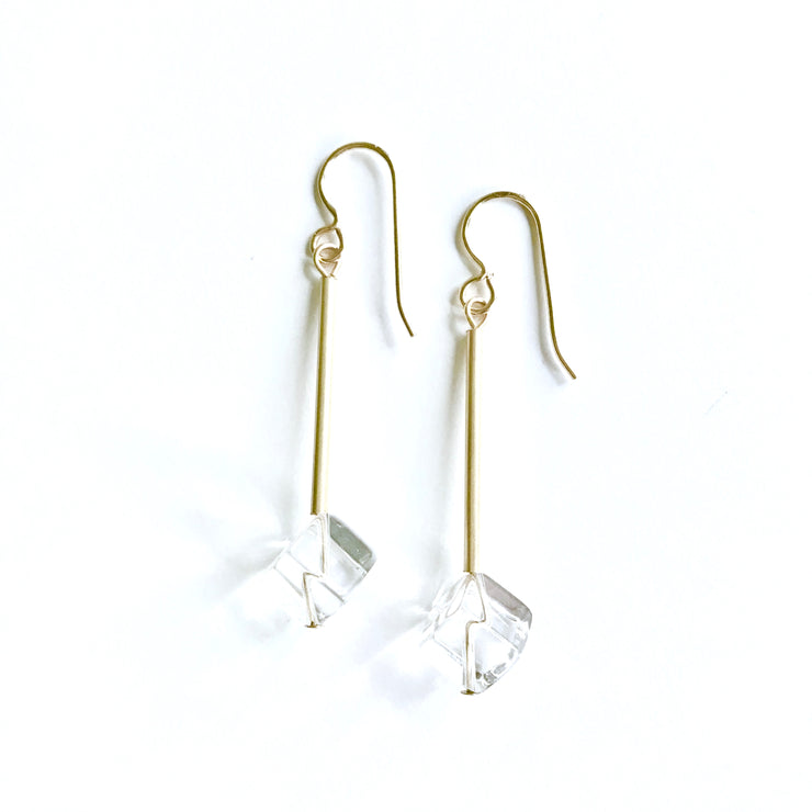 Clear Quartz Cube Earrings