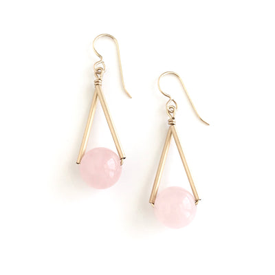 Rose Quartz Triangle Earrings