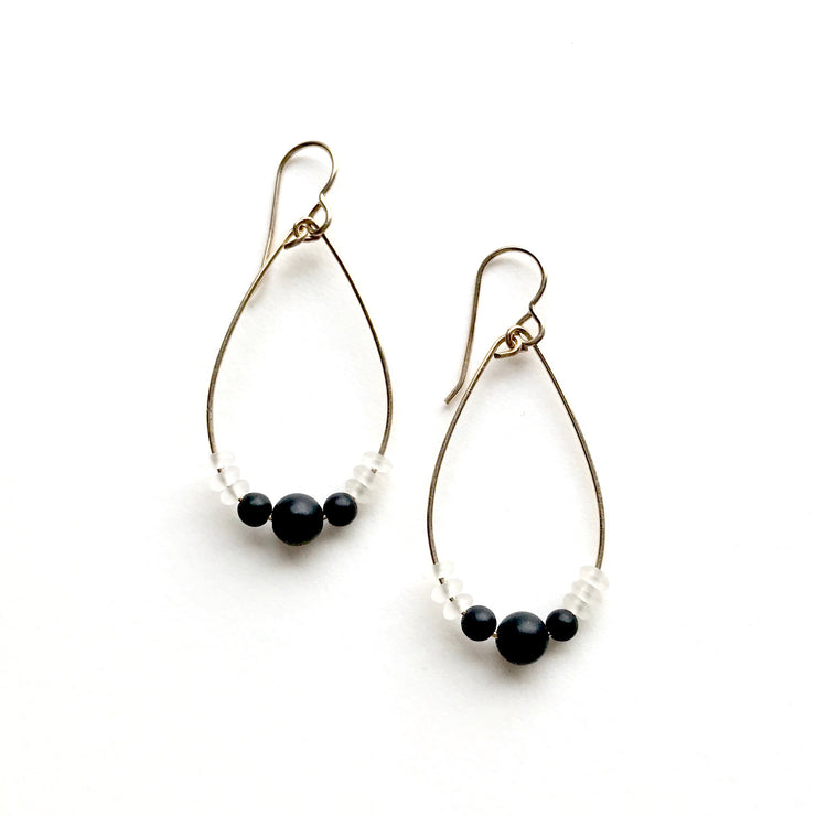 Onyx and Quartz Hoop Earrings