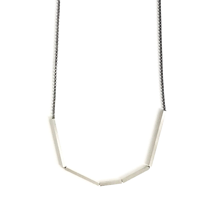 Long Abstract Necklace with Square Tubes