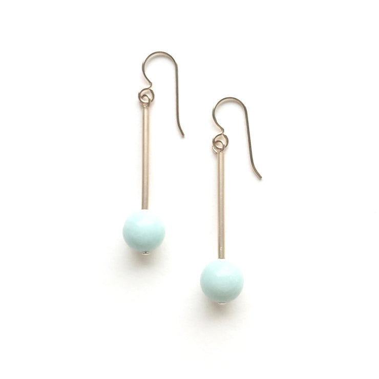 Amazonite Ball and Tube Earring