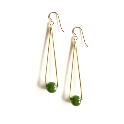 *NEW* Jade Long Triangle and Ball Earrings