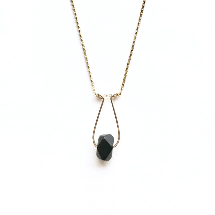 Matte Onyx Single Nugget Necklace