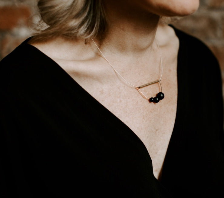 Matte Onyx Abacus Necklace