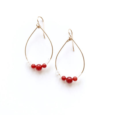 Carnelian and Quartz Hoop Earrings