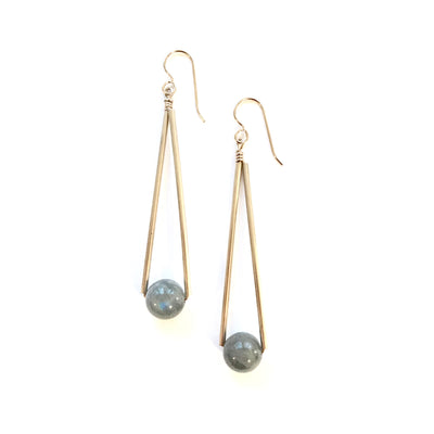 Labradorite Long Triangle and Ball Earrings