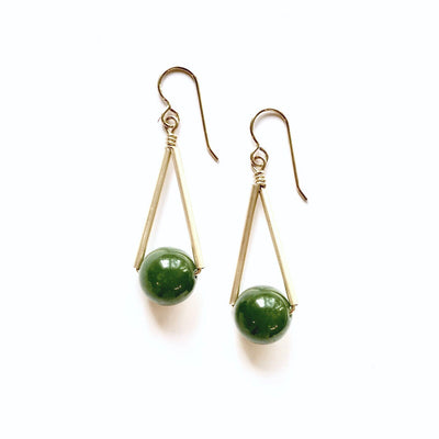 Triangle Jade and Gold Earrings