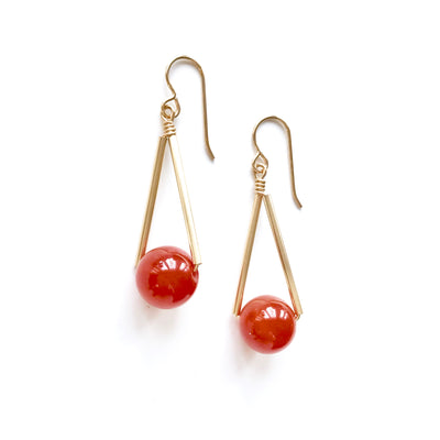 *NEW* Triangle Carnelian and Gold Earrings