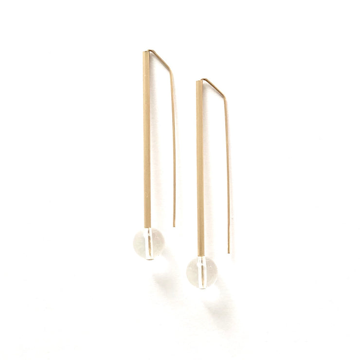 Quartz Long Tube and Ball Earring