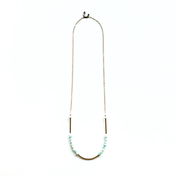 Amazonite Long Necklace with Tubes