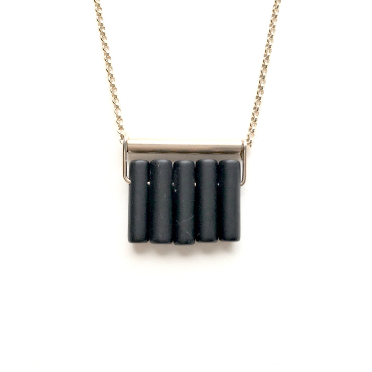 Matte Onyx Bar Mini Fringe Necklace