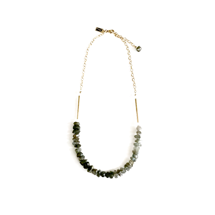 Rough Cut Faceted Labradorite and Quartz Necklace