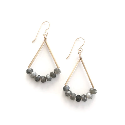 Labradorite Small Faceted Triangle Earrings