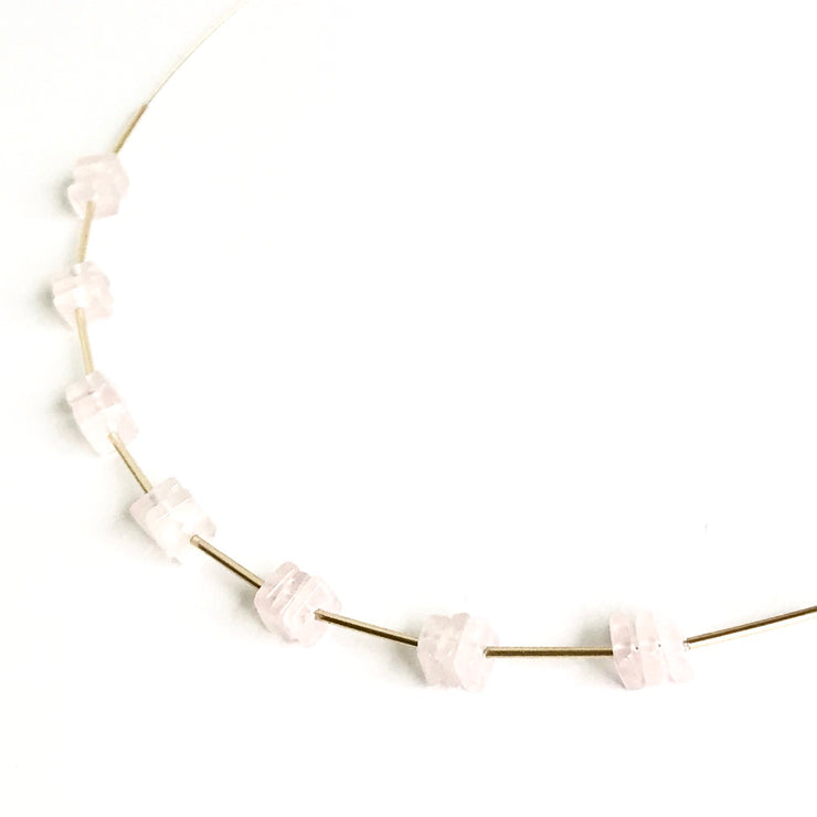 Rose Quartz Squares and Tubes Wire Necklace