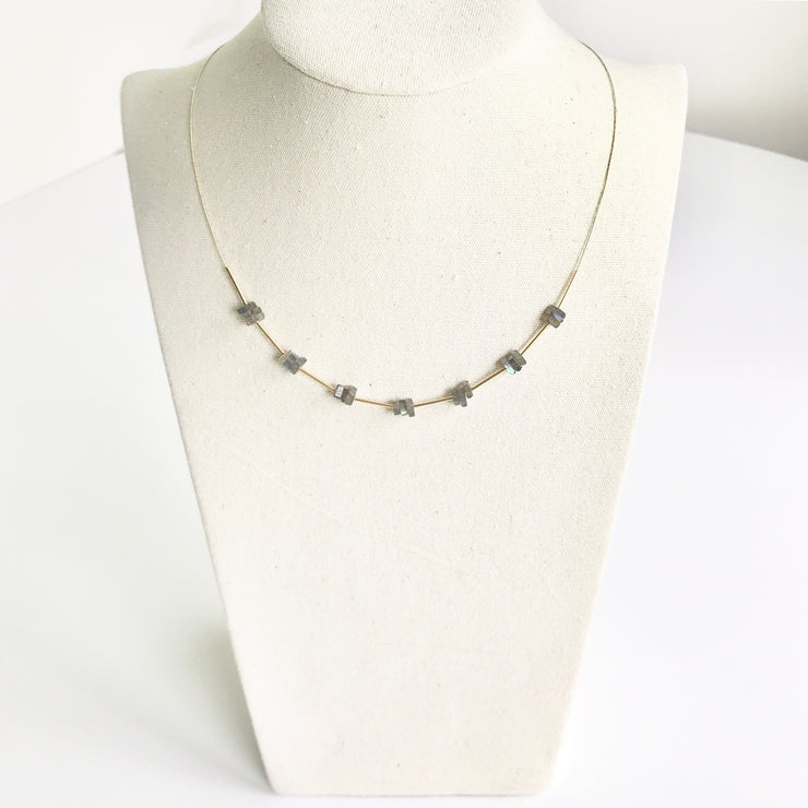 *NEW* Labradorite Squares and Tubes Wire Necklace