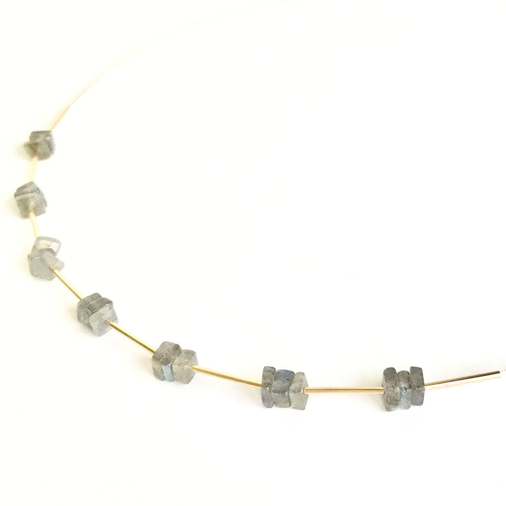 Labradorite Squares and Tubes Wire Necklace