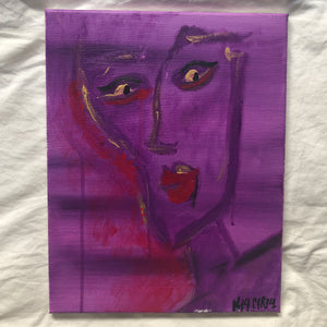 """Purple face"" Acrylic on Canvas by Kala Carela"