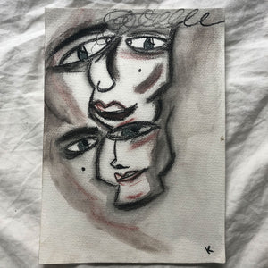 """Twins2""-Charcoal and watercolor on paper by Kala Carela"