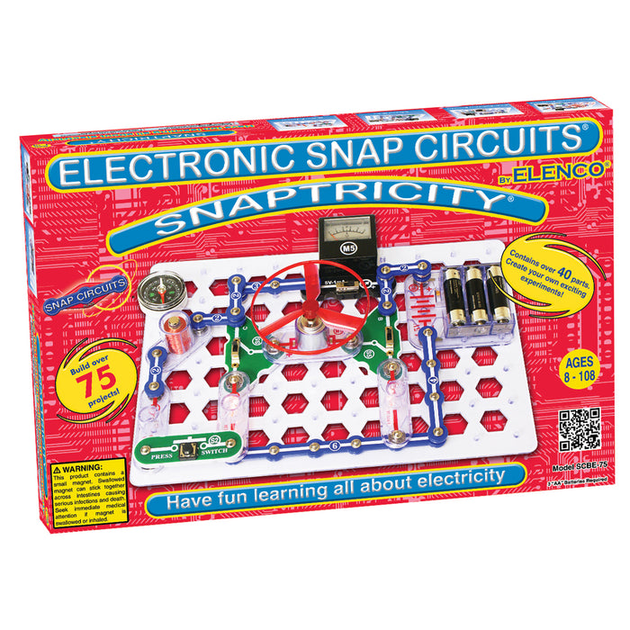 ELENCO - Snap Circuits - Snaptricity Electronics Kit - 75+ STEM Projects - SCBE75 | STEM Toy Store | STEMToyStore.com