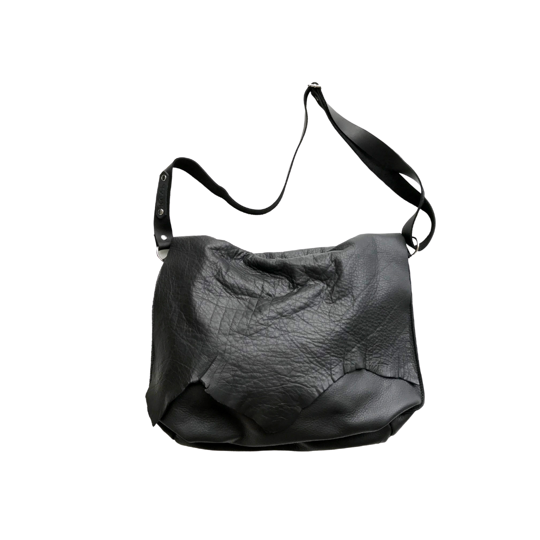 'Classic Raw' Black Leather Slouch