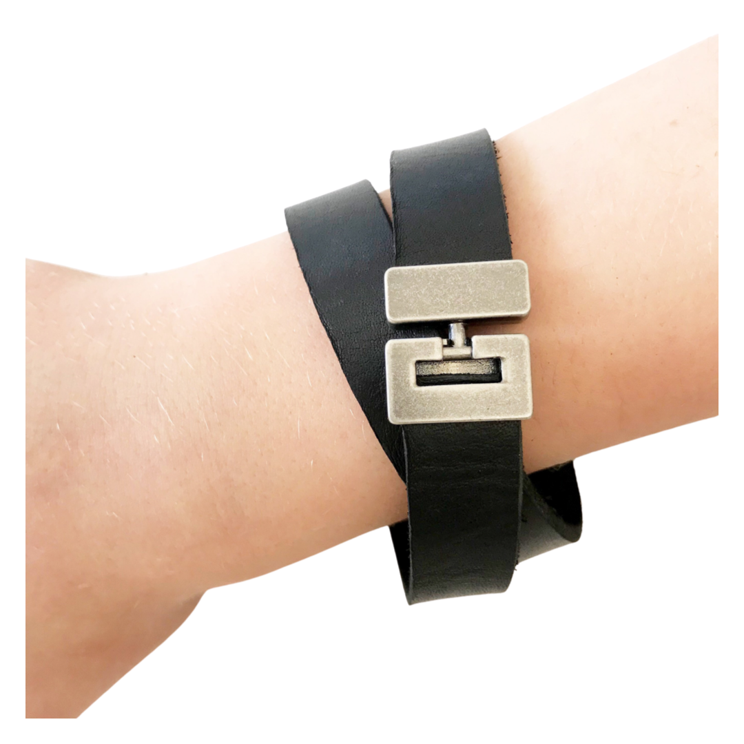 Premium Hardware Double Cuff - Black