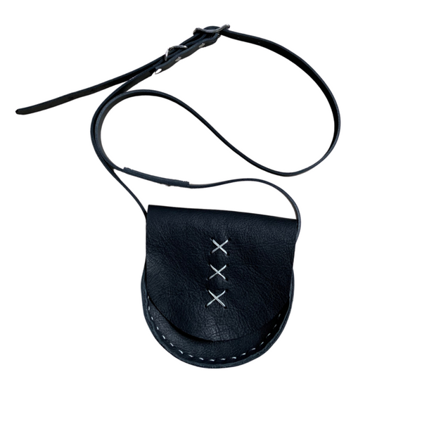 Hand Stitched Cross Leather Shoulder Bag