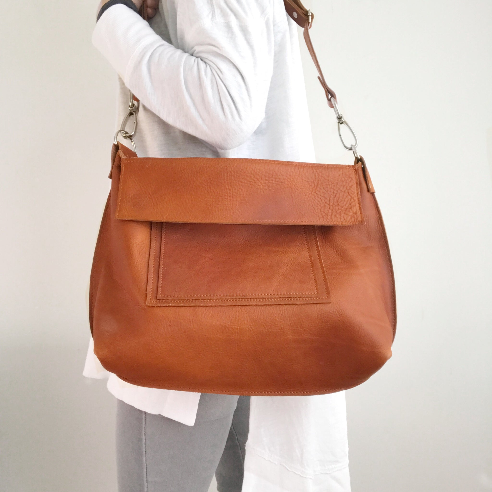 Tan Leather Messenger Tote