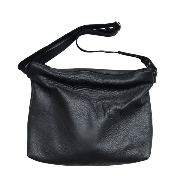 Black Leather Zippered Slouch