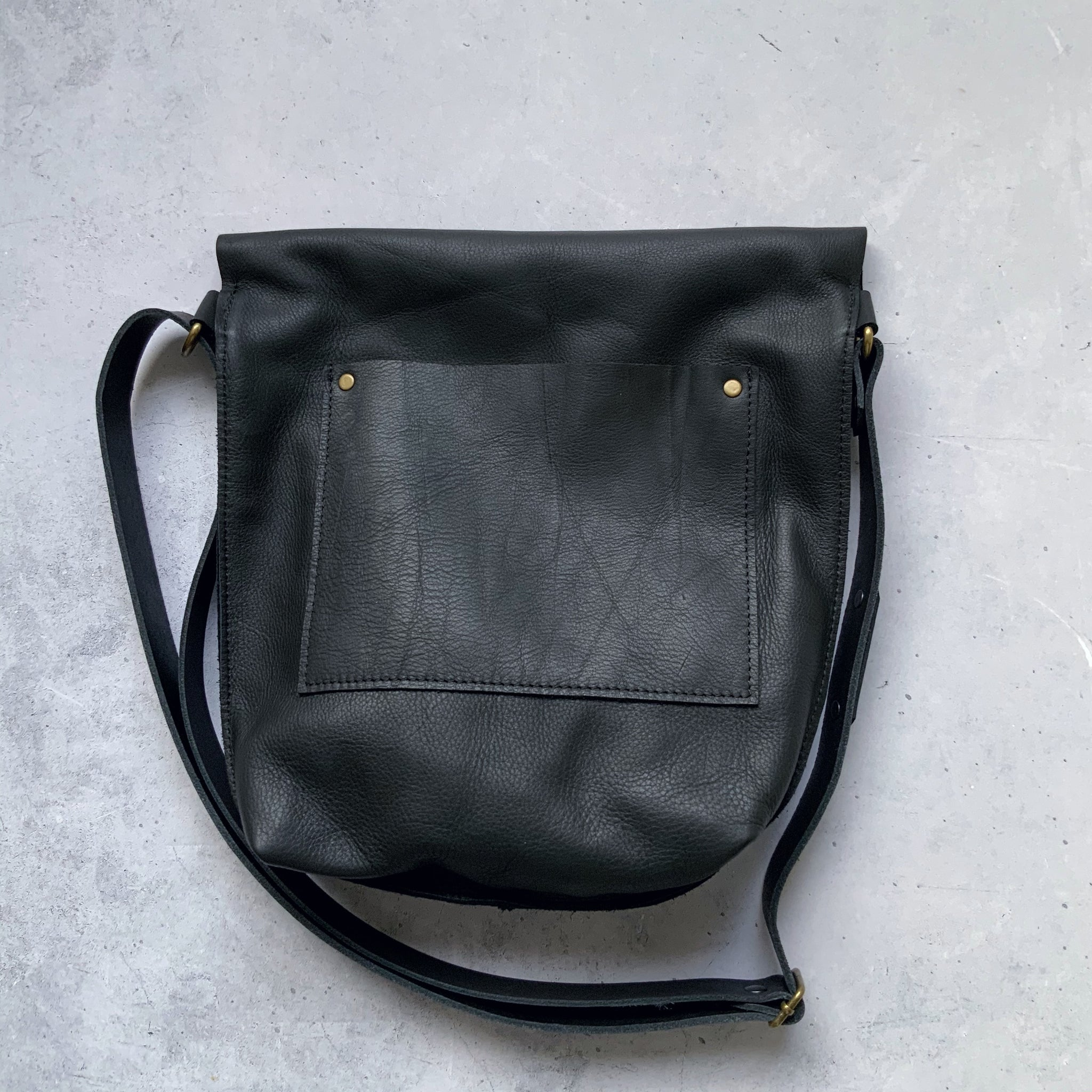 Black Cowhide Leather Fold Over Slouch