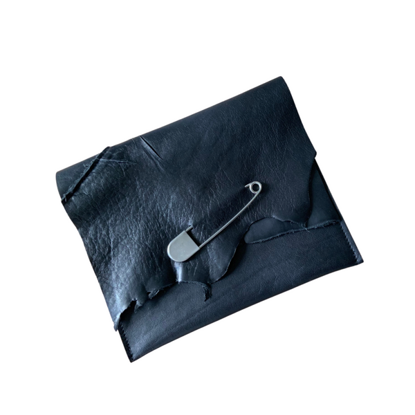 Handcrafted Black Leather Clutch  - Safety Pin
