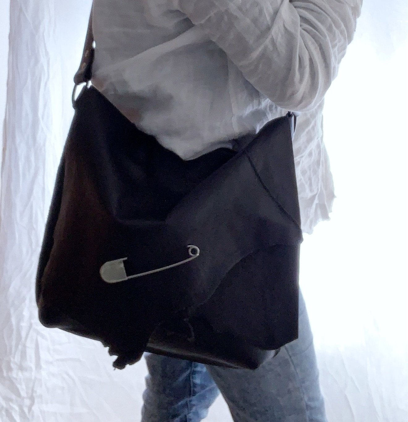 Handcrafted Black Leather Shoulder Bag - Safety Pin