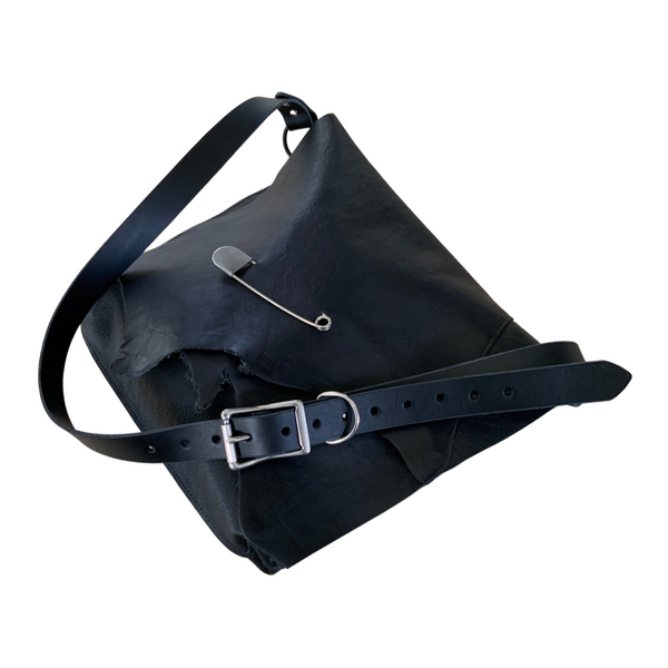 The Black Leather Shoulder Bag - Safety Pin