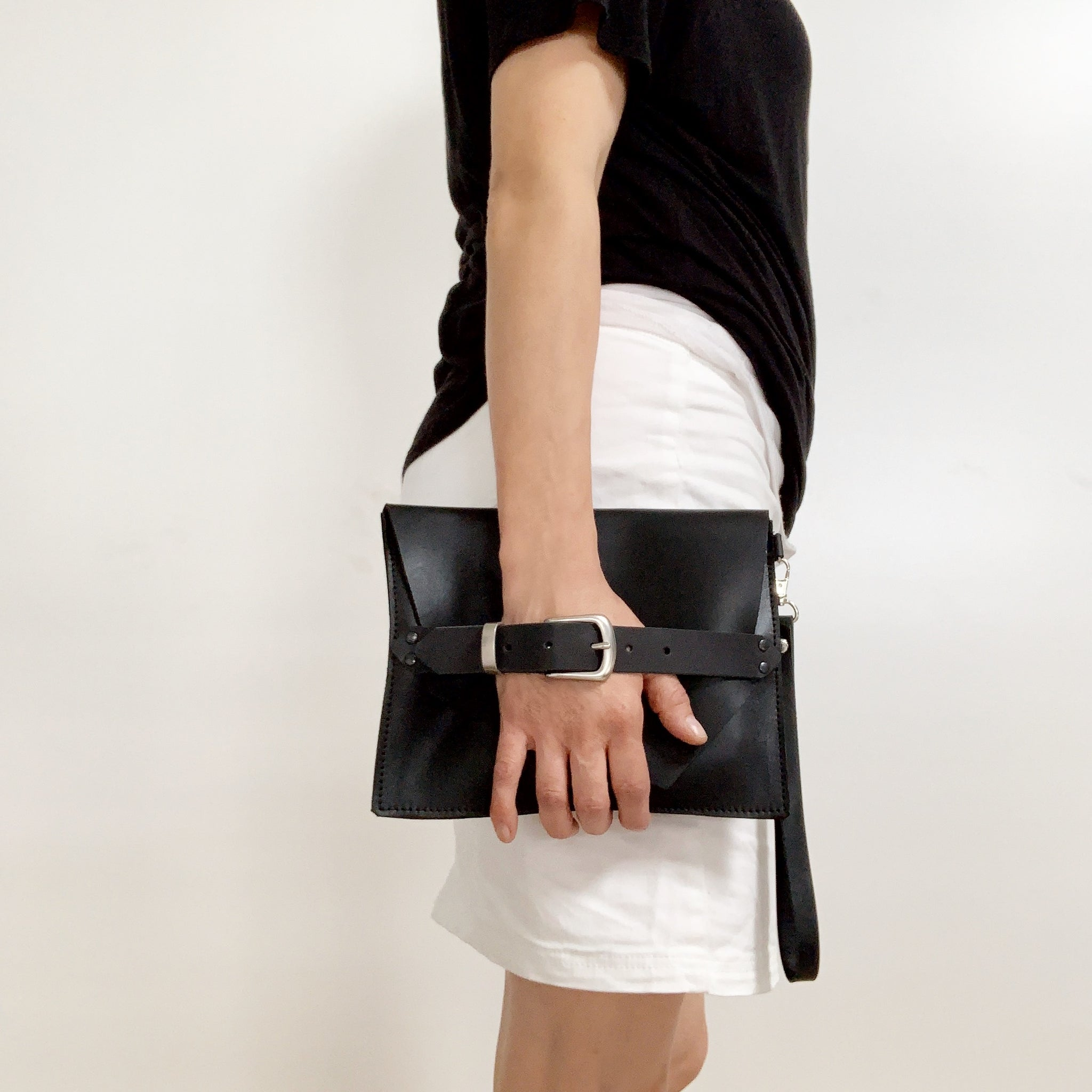 Belted Leather Wristlet Clutch
