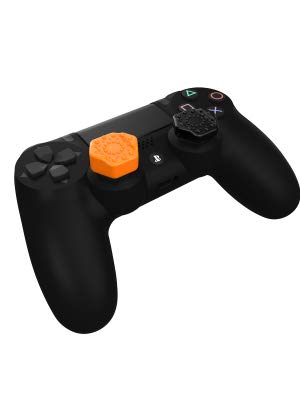 PS4 controller Thumb Grips. Pro-Hex Thumb Grips unique shape has been designed to ensure maximum control when playing games where accuracy is essential. The flat central area sits close to the original thumbgrip surface while the raised sides give extra purchase when making quick or sudden thumbstick movements.   For use with Playstation 4 Dualshock 4 Controller. Raised edges suit gamers who like to roll their thumb over the thumb stick. Includes 2x Tall and 2x Classic height.
