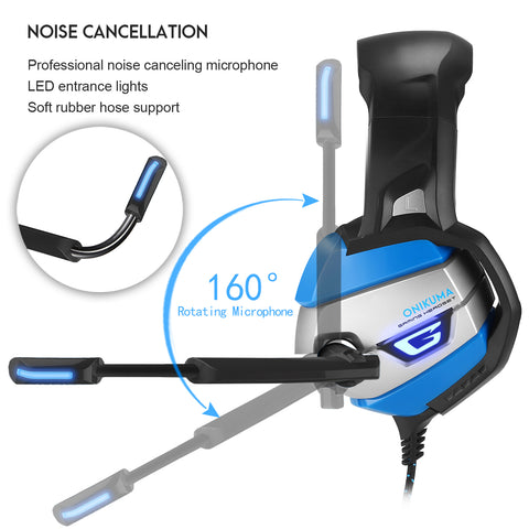 Onikuma K5 Blue Gaming Headset - Noise Canceling Microphone