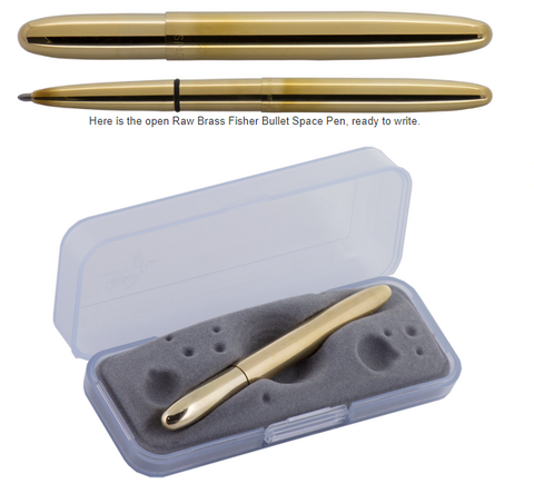 400RAW - RAW BRASS BULLET SPACE PEN