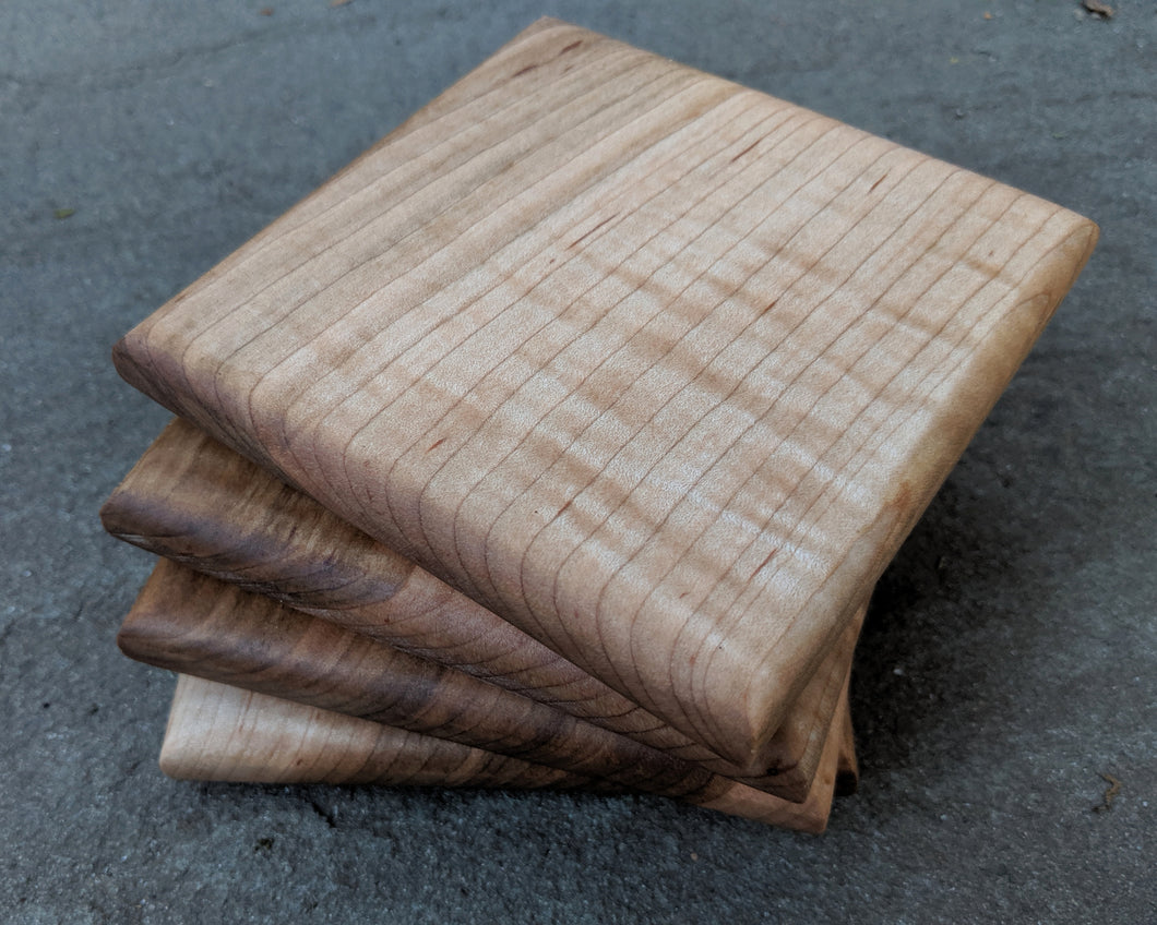 Curly Maple Coaster Set