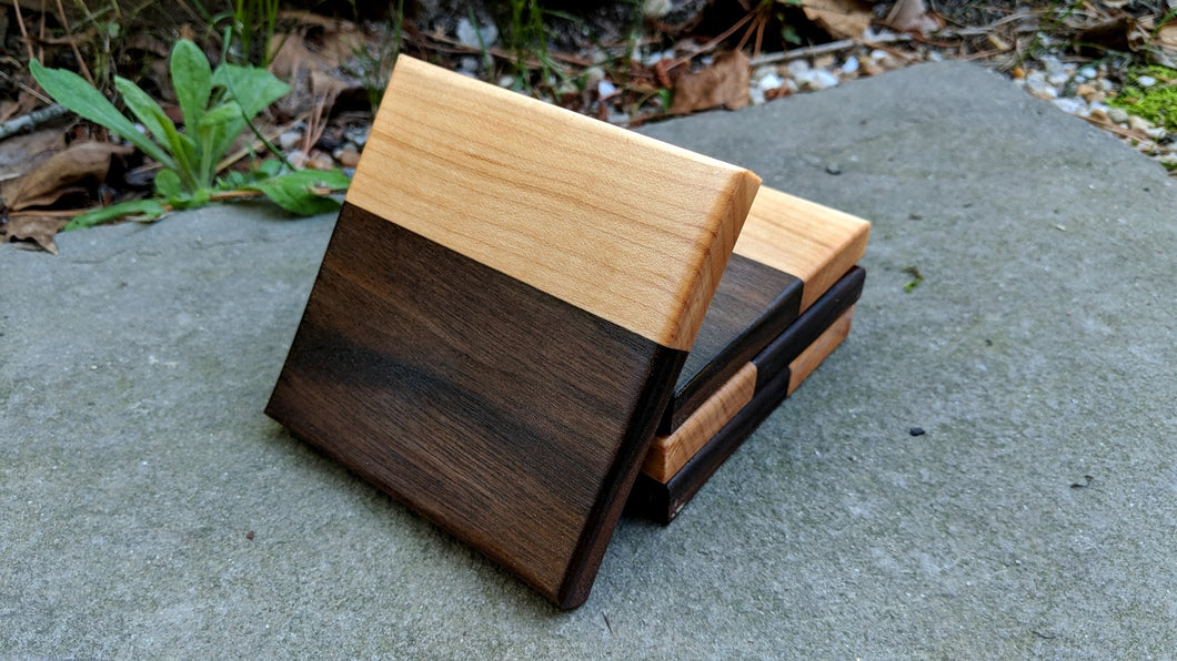 Walnut / Maple Coaster Set