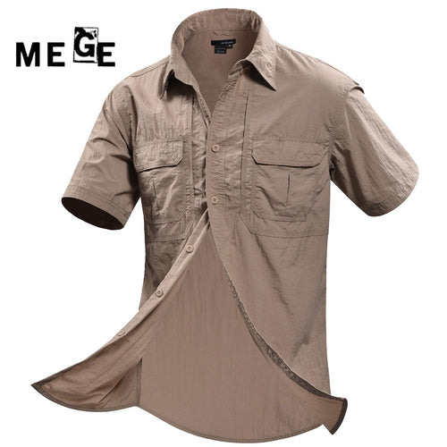 MEGE Brand Clothing, 2017 Men Outdoor Summer Short Sleeve Shirts,  Breathable Quick Dry Camisa Masculina Hiking Hunting Fishing